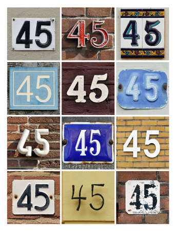 45th: Collage of House Numbers Forty-five  Stock Photo