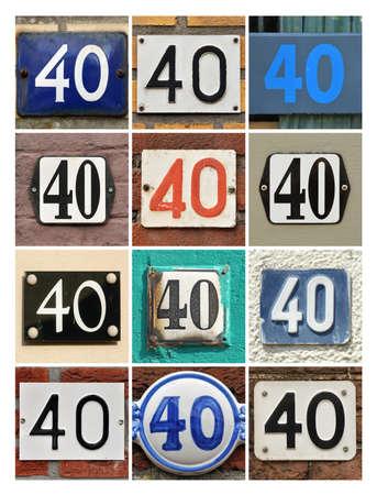 Collage van Huisnummers Veertig Stockfoto