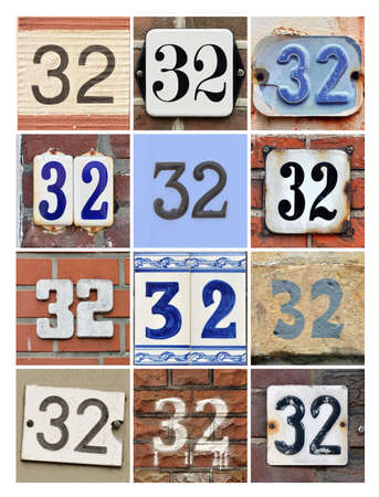 30: Collage of House Numbers Thirty-two