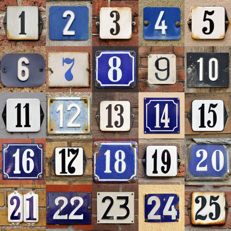 assigning:  House numbers 1 to 25 - Collection of House numbers one to twenty-five Stock Photo