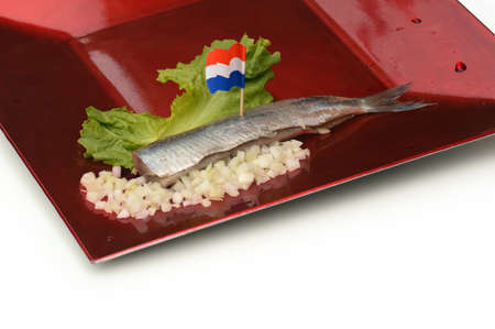 Herring fillet with Dutch flag, chopped onions on a red plate photo
