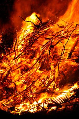 Stack of wooden waste on fire Zdjęcie Seryjne