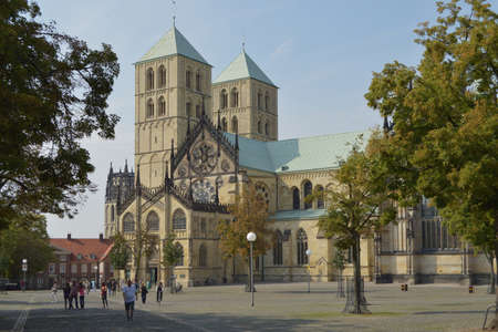 paulus: Munster, Germany - August 2013 - Kathedralkirche St Paulus and Domplatz in M�nster, Centre