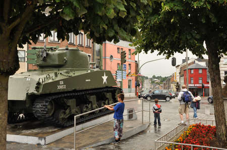 Bastogne, Belgium - August 2010   An American Sherman tank of the 11th Armored Division, on a square in Bastogne