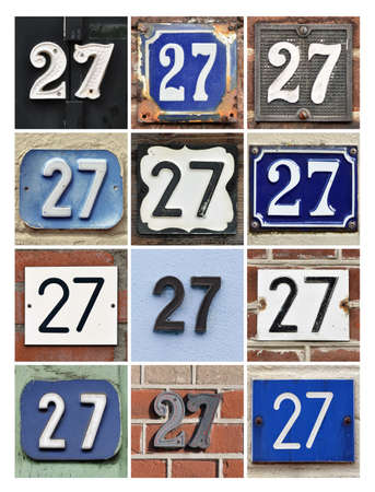 Collage of House Numbers Twenty-seven Stock Photo