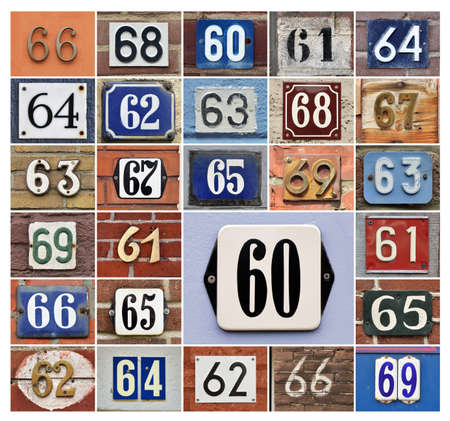 assigning: Collage of House numbers 60s Stock Photo