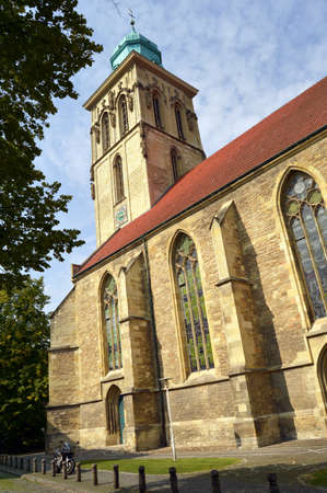 nave: Tower and nave of the St  Martini church, Munster, North Rhine-Westphalia, Germany