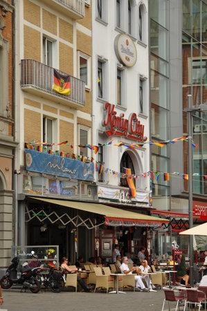 pent: AACHEN, GERMANY - JULY 2010   A sidewalk cafe in down town Aachen  Editorial