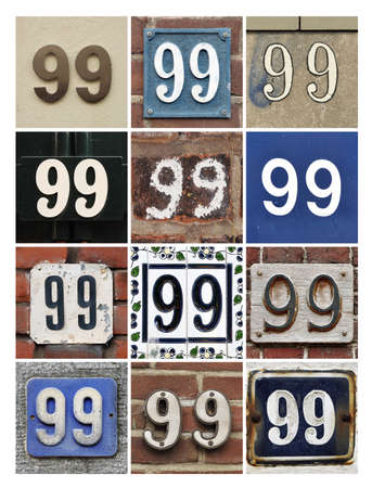 factorial: Collage of House Numbers Ninety-nine