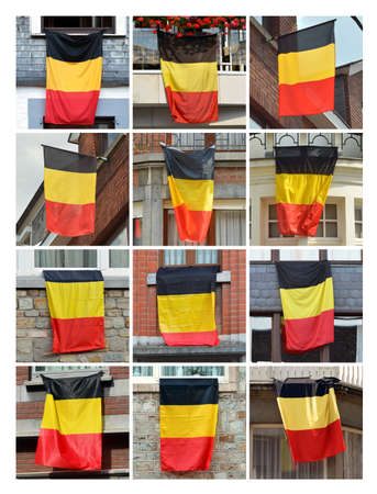 sundry: Belgian flags - Collage of Houses put out the flag of Belgium