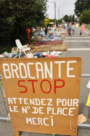 Brocante, Street closed for a jumble sale in Banneux, Belgium