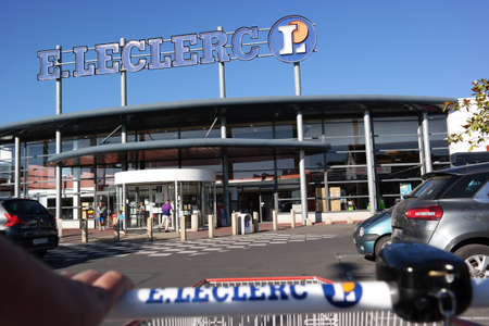 PLENEUF VAL ANDRE, FRANCE - JULY 2014  Entrance of an E Leclerc hypermarket, a French multinational retailer with more than 500 locations in France and 114 stores outside of the country