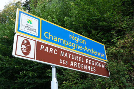 champagne region: Entry sign of the Champagne-Ardenne region of France and sign of Ardennes natural area at the border between France and Belgium Editorial