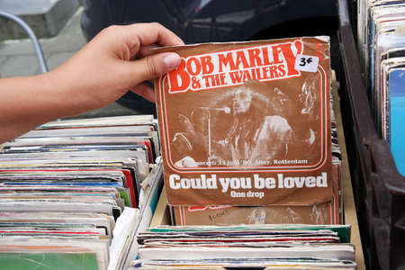 BELGIUM - JULY 2014 Single record of Bob Marley and the Wailers on a flea market.