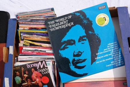 record albums: BELGIUM - JULY 2014: LP record of pop singer Engelbert Humperdinck on a flea market.