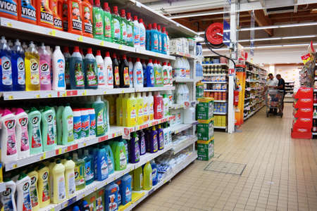 FRANCE - JULY 2014  Shelf filled with cleaning product in a Leclerc supermarket Editoriali