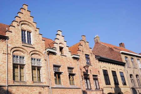 reparations: Houses with a crow-stepped gable in Ypres a historic city in the Flemish province of West Flanders, Belgium Editorial