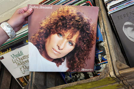 THE NETHERLANDS - AUGUST 2014   LP record of singer and songwriter Barbra Streisand in a second hand store