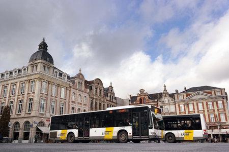 leuven: LEUVEN, BELGIUM - OCTOBER 2014: City buses at the Martelarenplein in the Belgian city of Leuven, Belgium