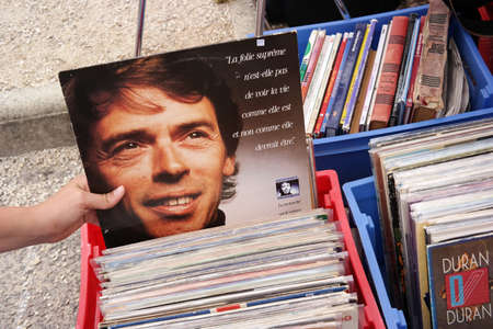 FRANCE - JULY 2014  LP record of the Belgian singer-songwriter Jacques Brel 1929 ? 1978 on a flea market on July 20, 2014 in Brittany, France