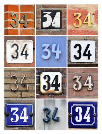 34: Collage of House Numbers Thirty-four
