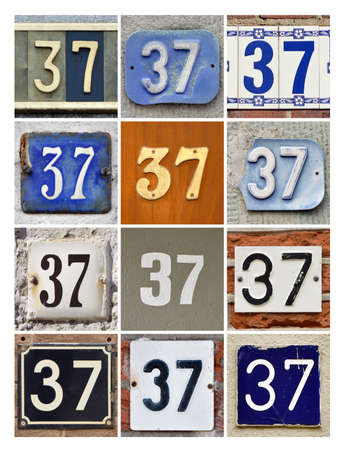 factorial: Collage of House Numbers Thirty-seven Stock Photo