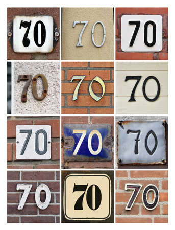 seventieth: Collage of House Numbers Seventy