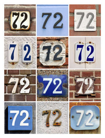 Collage of House Numbers Seventy-two Stock Photo