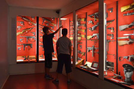 allied: LA ROCHE, BELGIUM - JULY 2013: The Gun Room in Museum of the Battle of the Ardennes in La Roche-en-Ardenne, Belgium