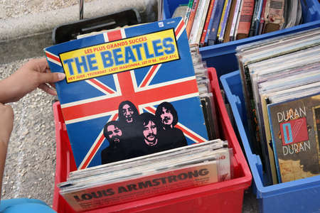 FRANCE - JULY 2014:  LP record, in France released compilation album of the The Beatles on a flea market in Brittany, France