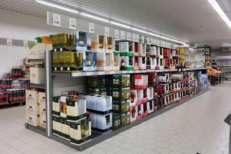 retail chain: NORDHORN, GERMANY - DECEMBER 2014: Wine department of Aldi supermarket, Aldi is a global discount supermarket chain, their formula is selling out of the box