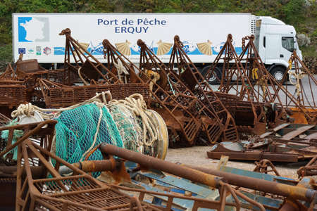fishery: ERQUY, FRANCE - JULY 2014  fishery attributes in front of a truck in harbour of Erquy, Cotes d Armor in Brittany