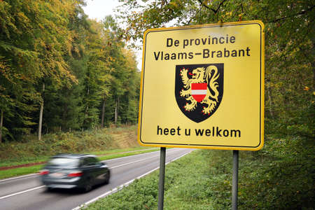 flemish: BELGIUM - OCTOBER 2014: Welcome sign of Flemish Brabant a province of Flanders, one of the three regions of Belgium