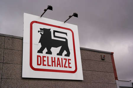 WALLONIA, BELGIUM - OCTOBER 2014: Logo of a Delhaize supermarket, part of Delhaize Group, an international food retailer which operates supermarkets in seven countries and on three continents