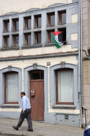 nationalists: VERVIERS, BELGIUM - JULY 2014: Palestinian flag at a home in an immigrant neighborhood in Verviers, Belgium
