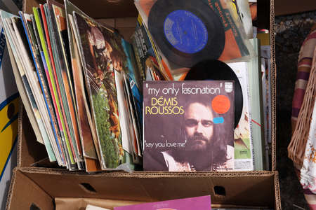 progressive art: BELGIUM - JULY 2014 Single record of Greek singer and performer Demis Roussos on a flea market