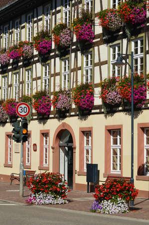 jardineras: Jardineras con flores en el Ayuntamiento en Hausach, Schwarzwald, Baden-Wuerttemberg, Alemania Foto de archivo