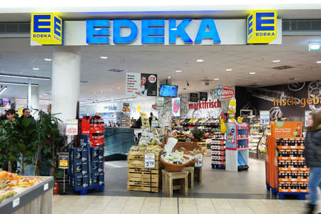cooperative: MEPPEN, GERMANY - FEBRUARY 2015: Edeka supermarket in a mall in Meppen. The Edeka Group is the largest German supermarket corporation