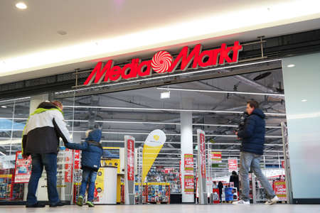 the throughout: MEPPEN, GERMANY - FEBRUARY 2015: Media Markt is a German chain of stores selling consumer electronics with numerous branches throughout Europe and Asia
