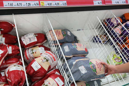 Frozen meat: GERMANY - FEBRUARY 2015: Freezer filled with packaged frozen Whole Goose  in a Kaufland supermarket