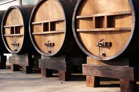 casks: Huge wooden barrels. Large wooden antique casks of 5000 liters Stock Photo