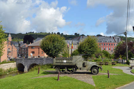 infantry: Halftrack, a WW2 Memorial of the 30th Infantry Division - near the bridge of Stavelot, Belgium Editorial
