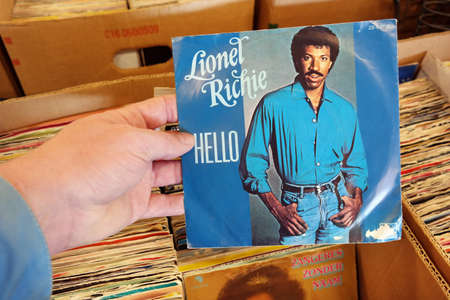 lionel: THE NETHERLANDS - MARCH 2015: Single record of the American singer, songwriter, musician, record producer and actor Lionel Richie in a second hand store