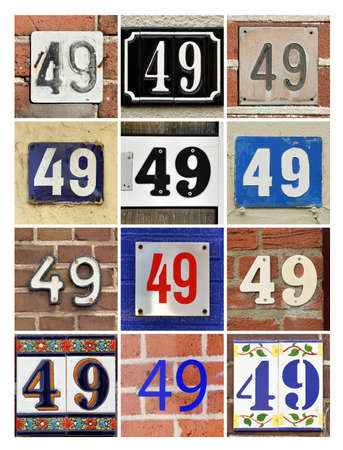 ninth birthday: Number 49 - Collage of House Numbers Forty-nine Stock Photo