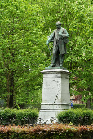 walloon: VERVIERS BELGIUM MAY 2015: Statue of the Belgian composer and violinist Henri Vieuxtemps a Memorial Verviers in Belgium Editorial