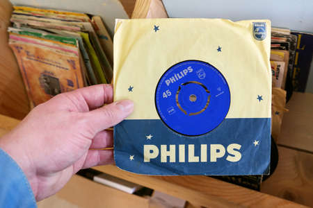 record label: THE NETHERLANDS MARCH 2015: Phillips 45 rpm single record found in a second hand store. Philips Records is a record label tat was founded by the Dutch electronics company Philips