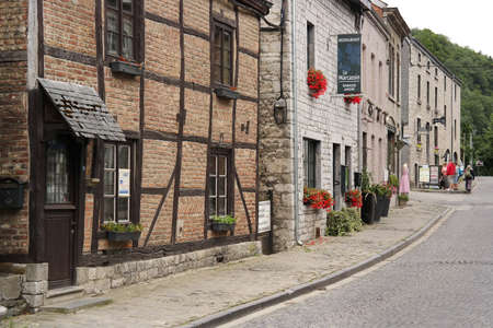 walloon: DURBUY, BELGIUM - JULY 2015 Street view of Durbuy, a Walloon city in the Belgian Ardennes, known as the smallest town in the world
