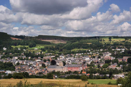arden: View on the Belgian city Stavelot in the Walloon Ardennes