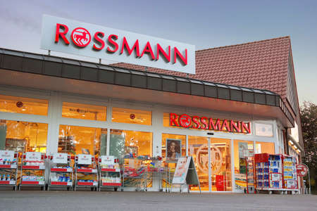 drug store: UELSEN, GERMANY - SEPTEMBER 2015: Branch of a Rossmann drugstore. Rossmann is Germanys second-largest drug store chain, with other 3,000 stores in Europe Editorial