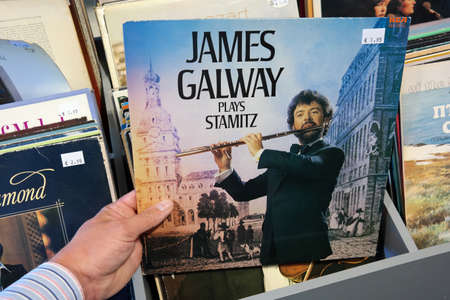 virtuoso: THE NETHERLANDS - OCTOBER 2015: LP record of the Irish virtuoso flute player from Belfast, James Galway, in a second hand store.